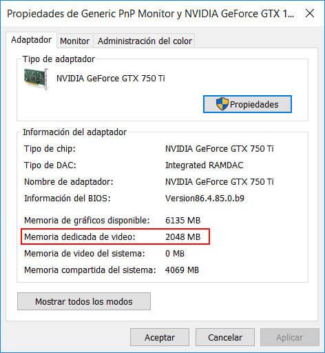 como saber cuanta vram tengo windows 8
