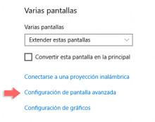 configuracion de pantalla avanzada windows 10